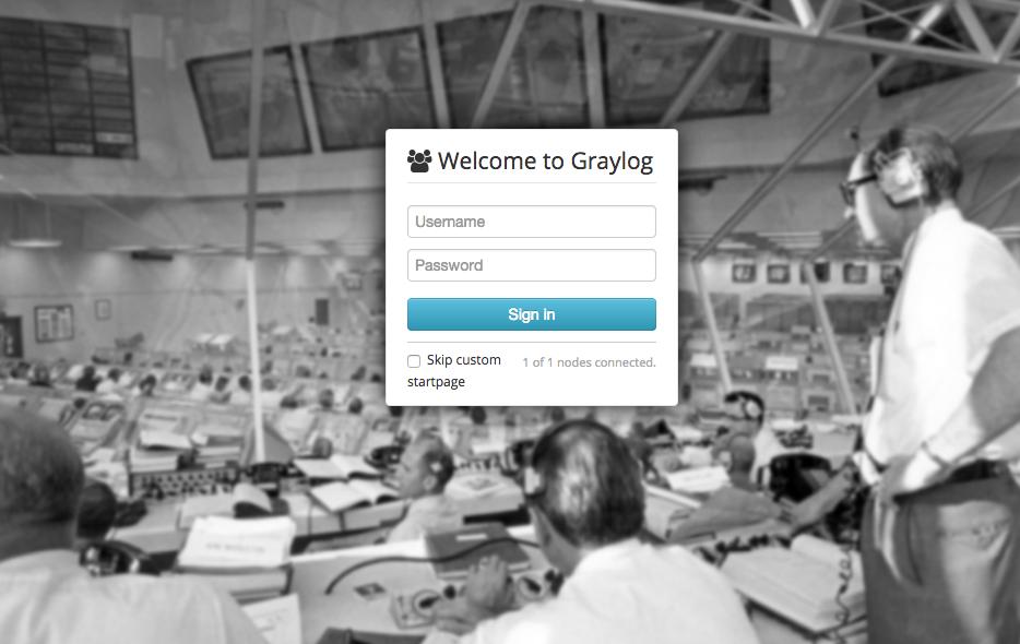 Graylog Login Screen